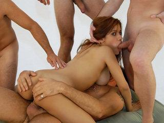 Latina chick Martina Rosa gets fucked by three big cock men