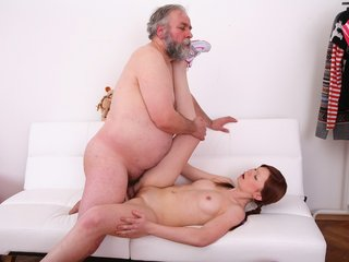Miriam has little, pert tits and she loves getting them sucked by this old dude