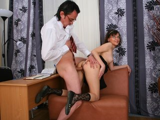 Youthful coed seduced her teacher.