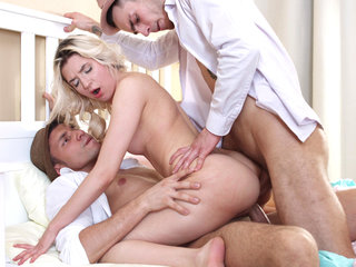 Nubile 3some & dual facial cumshot