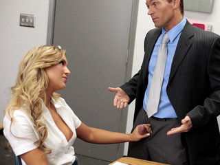 Horny blonde schoolgirl Cameron Dee accepts her teachers huge cock